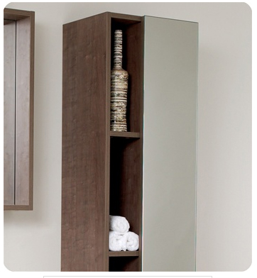 Linen Cabinet w/ 4 Cubby Holes & Mirror