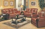 Bianco - Cognac Colored Leather Sofa set