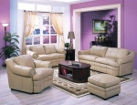 Hamail - Light tan Color Top Grain Leather Sofa Set