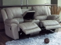 Aspen - Theater Love Seat, Taupe Leather