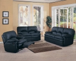 Tina - Black Colored Leather Match Sofa Set