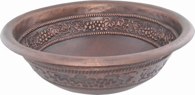 Round Copper Bath Sink - Grape Vines/Ropem