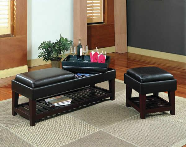 Kulap - Black Vinyl Bench & Stool