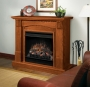 Traditional Compact Electric Fireplace in Oak Finish