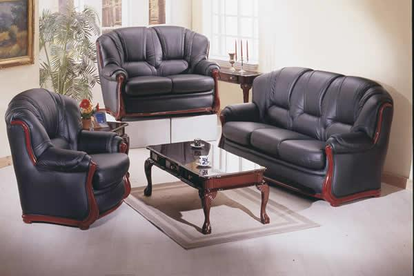 Victorian - black Colored Leather Match Sofa Set