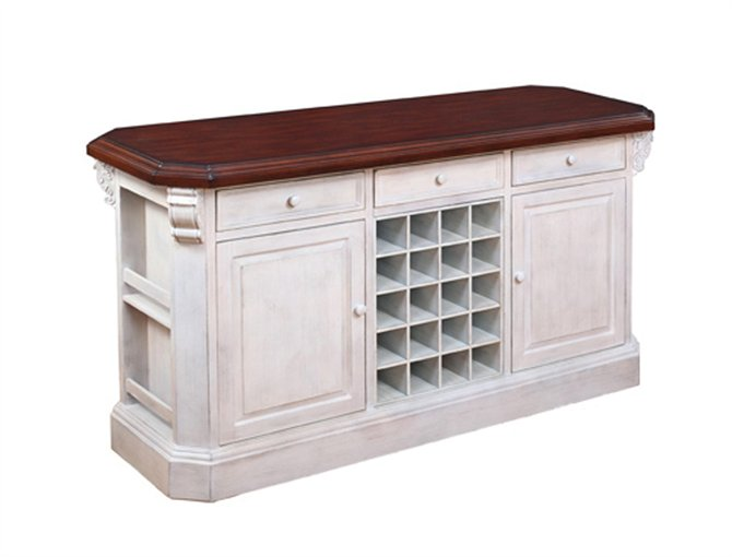 Island - Antique White Rubbed Finish w Dk Woodtone Top