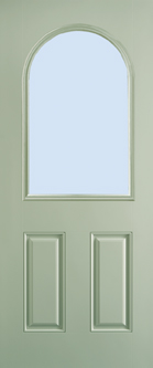 Belleville - Smooth 2 Panel Door, Half Lite Round Top