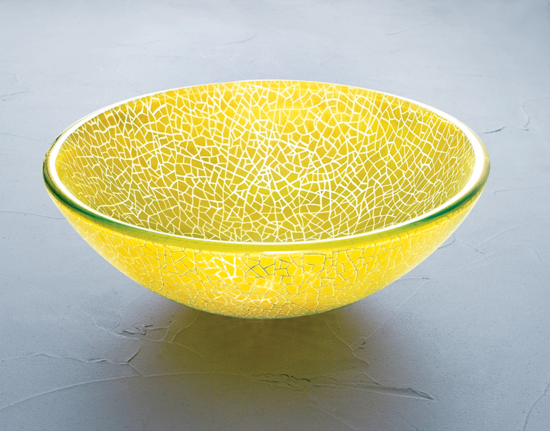 Double Layer Glass - SG-D13, Yellow Crackled