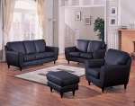 Soho - Black Leather Match Sofa Set