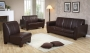 Manzi - Dark Brown PU Sofa Set