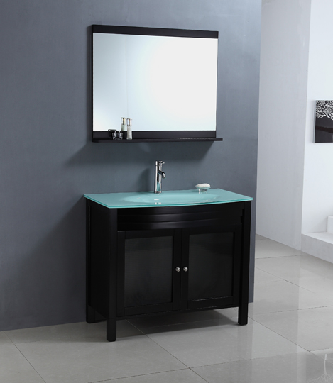 Glass Top Bathroom Vanity - 39