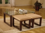 Lazar - Glass Top Table & 2 Stools