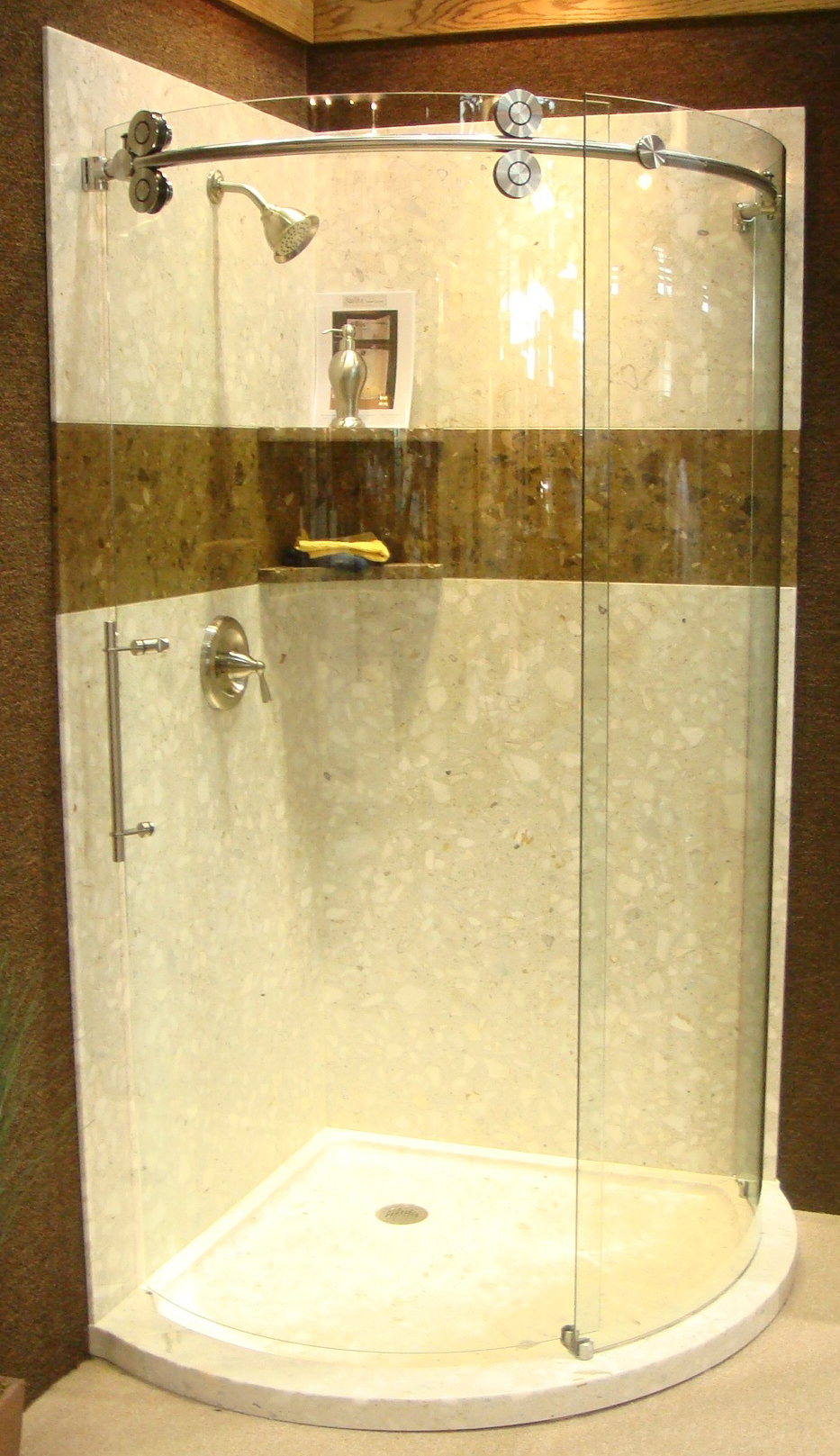 Solid Stone Arc Shower - Various Colors ( 32, 36 & 40\