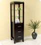 Linen Cabinet w 3 Tempered Glass Shelves - Espresso